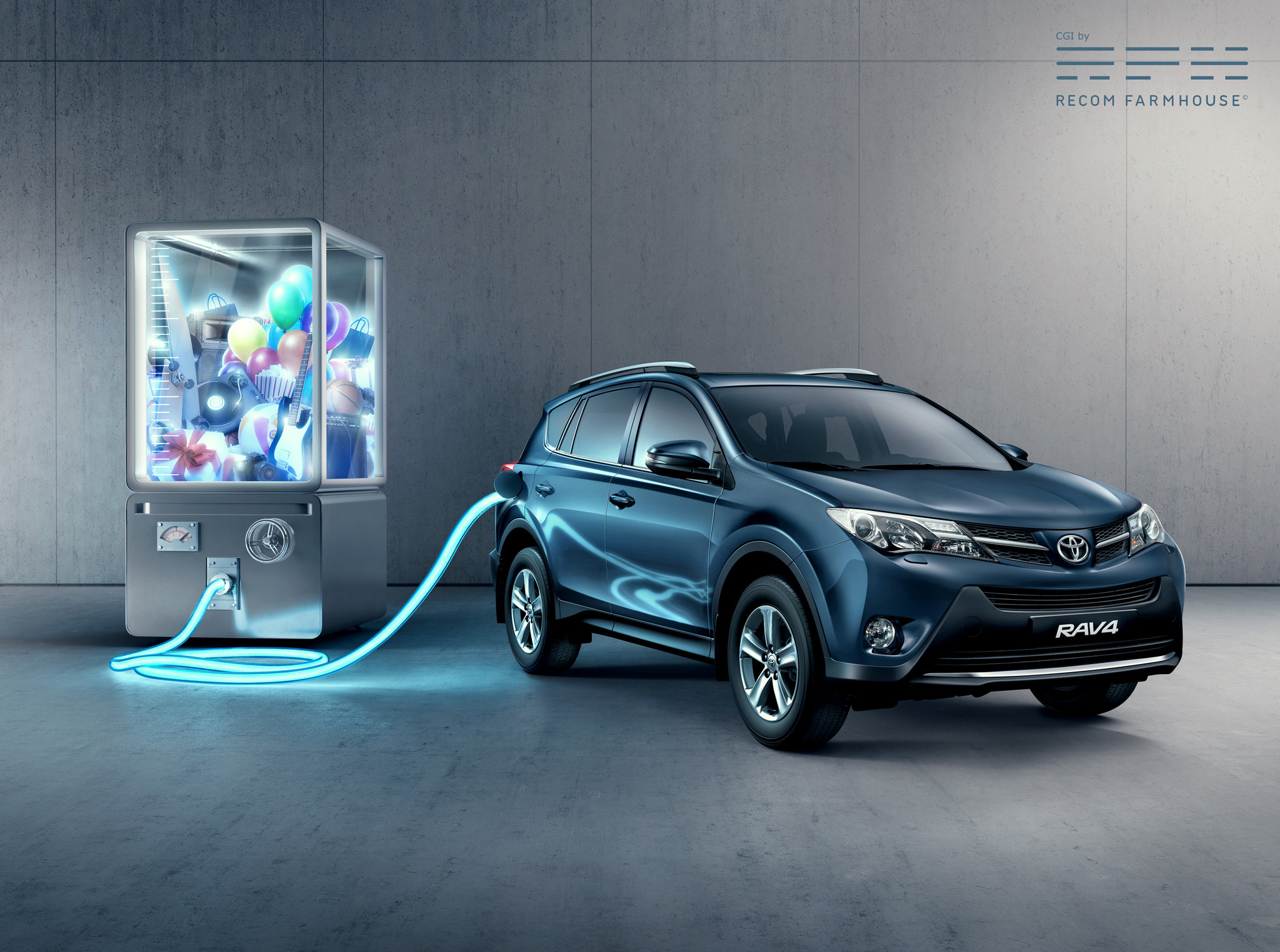 CGI, Interior, Rav4, __unsorted_keywords, artificial lighting, automotive, car, cars, cold, concrete, connotations, display, electric, electric engine, electric motor, energy, features, manufacturer, neon, pump, toyota, toys