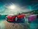 Comin, Type, __unsorted_keywords, automotive, car, cars, cloudy, coast, coastside, cold, colors, colour flares, connotations, editorial, environment, f-type, jaguar, lens flare, location, manufacturer, nature, outdoors, red, side view, spain, weather conditions