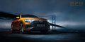 #2018, #OVERALL TONE IF STRONG, #SINGLE COLOUR IF DOMINANT, #STYLE_MOOD, AUTOMOTIVE, Audi, Car, Q8, RETOUCHING, SUV, advertising, blue, bridge, car parked, cinematic, city, clouds, concrete, cool tone, dark, low light, night, orange car, suv, urban