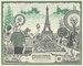 Paris, United States Bank Note, __unsorted_keywords, advertising, art, artistic, bill, collage, currency, dollar, eiffel, eiffel tower, money, objects, one dollar, tourists